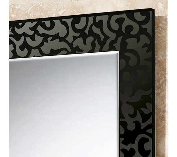 Alternate image of HIB Flora Rectangular Bevelled Mirror On Black Glass Patterned Frame