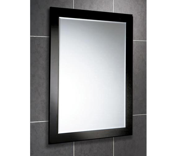 HIB Dalia Rectangular Bevelled Mirror On Black Glass Frame