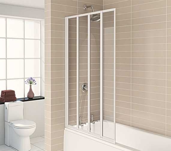 Aqualux Aqua 4 White 4-Fold Bath Screen 840 x 1400mm