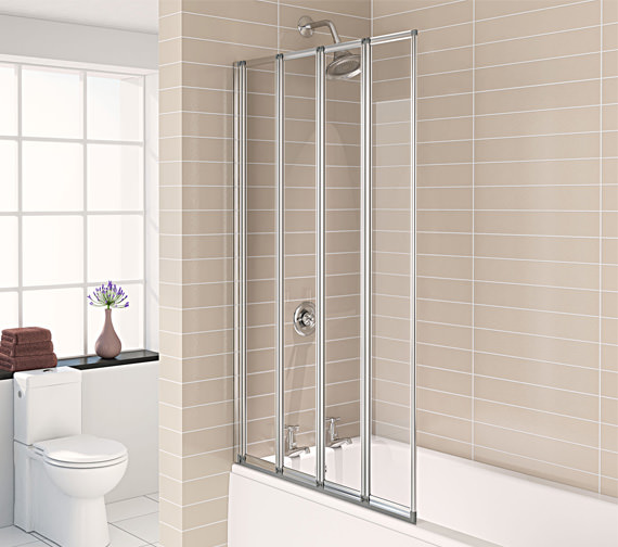 Aqualux Aqua 4 Polished Silver 4-Fold Bath Screen 840 x 1400mm