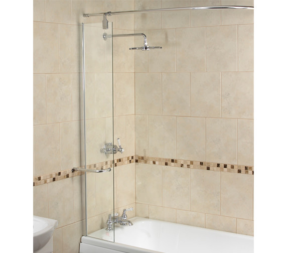 Aqualux Aqua 6 Splash Guard Bath Screen 300mm With Rail - FBS0180AQU