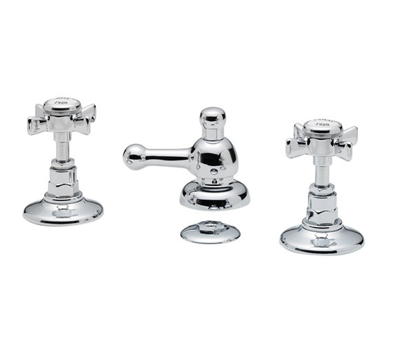 Tre Mercati Imperial 3 Hole Bidet Mixer Tap With Pop Up Waste Chrome