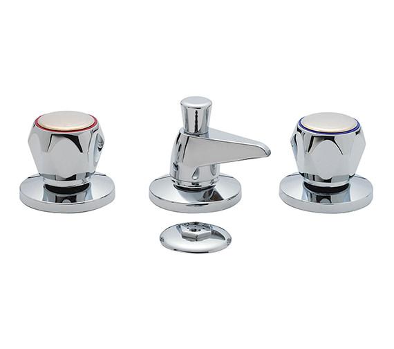 Tre Mercati Capri 3 Hole Bidet Mixer Tap With Clear Head And Waste Chrome