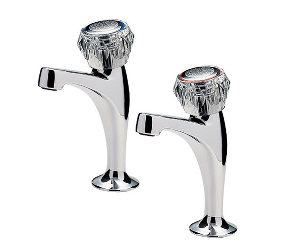 Tre Mercati Capri Pair of High Neck Pillar Taps With Clear Heads