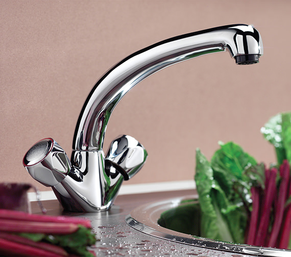 Tre Mercati Marco Dual Flow Kitchen Sink Mixer Tap With Clear Heads