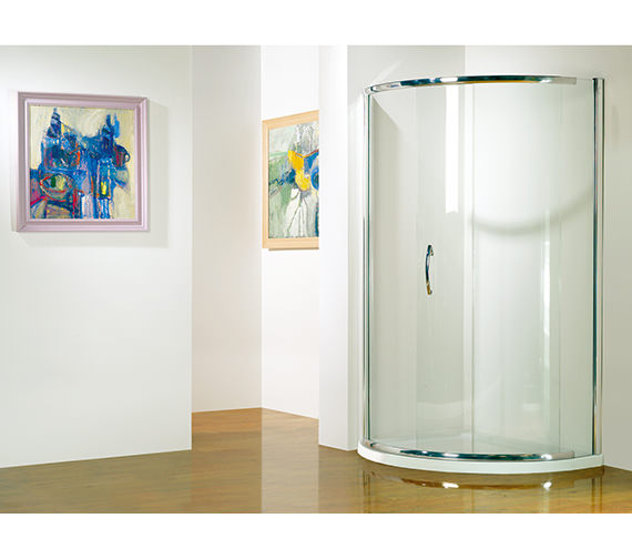 Infinite 1000 x 810mm LH Curved Side Access Slider Shower Door With Tray