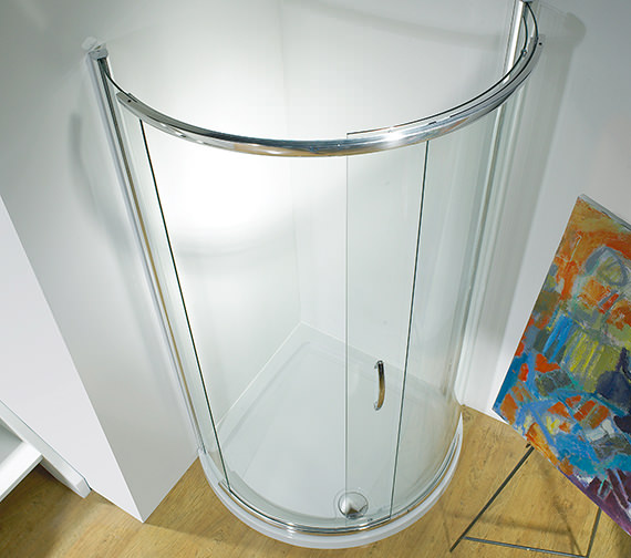 Kudos Infinite 910mm Curved Single Slider Shower Door Side Access