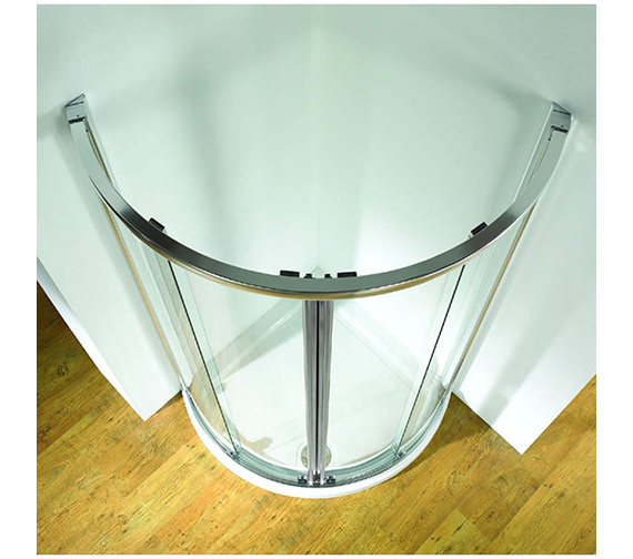 Original 810mm Double White Curved Slider Door With Tray And Waste