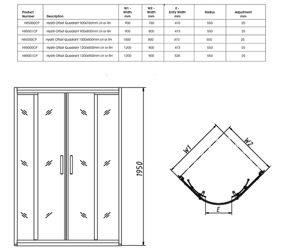 Image 2 of Twyford Hydr8 Offset Quadrant Shower Enclosure 1200 x 800mm