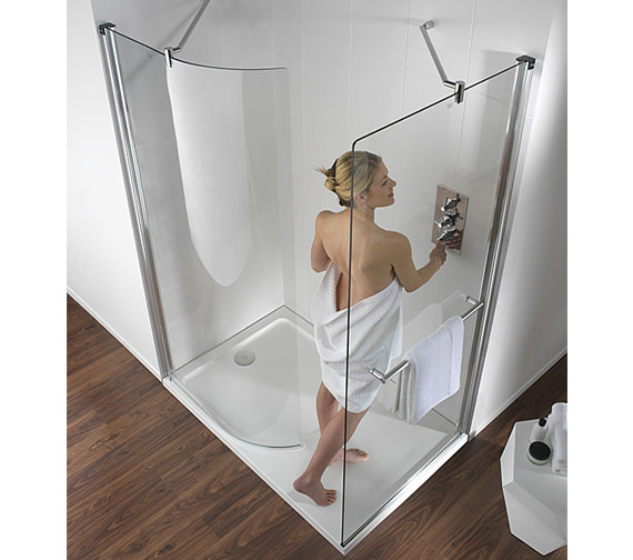 Twyford Hydr8 Walk In 885 x 1950mm Curved Shower Panel