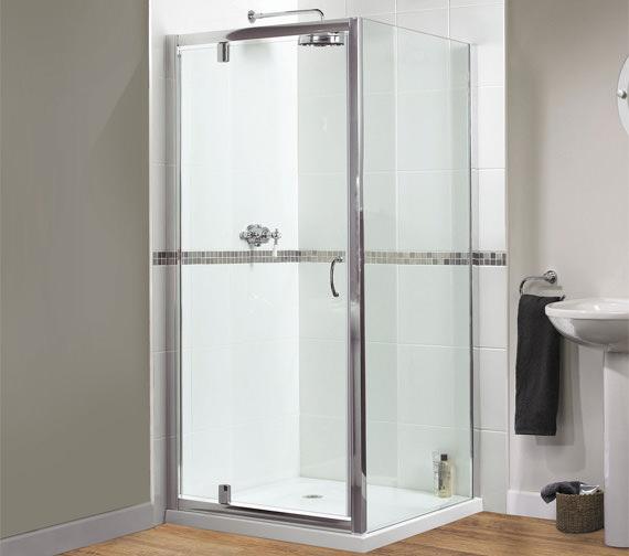 Aqualux Shine Pivot Shower Door 760mm Polished Silver - FEN0895AQU
