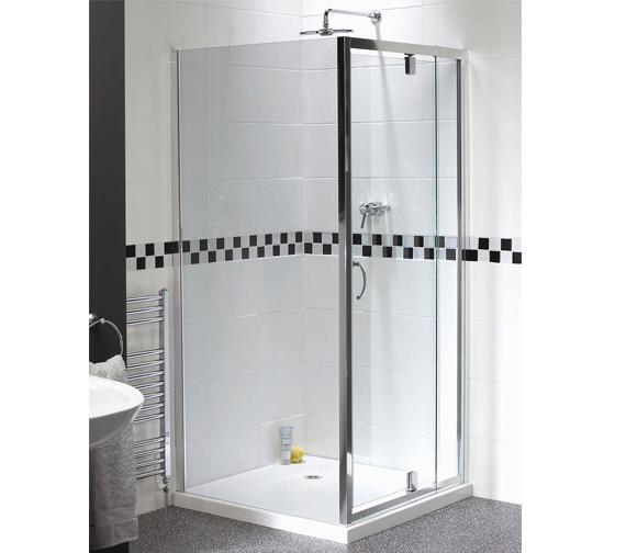 Aqualux Shine Telescopic Pivot Shower Door 760-900mm - FEN0894AQU