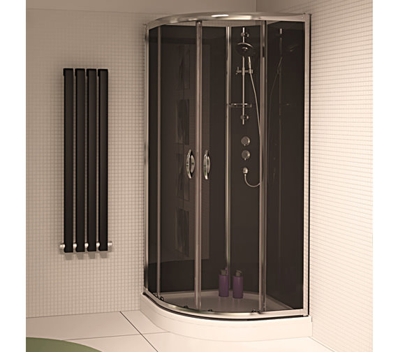 Aqualux Slot And Lock Quadrant Enclosure 900mm With Black Glass Panels