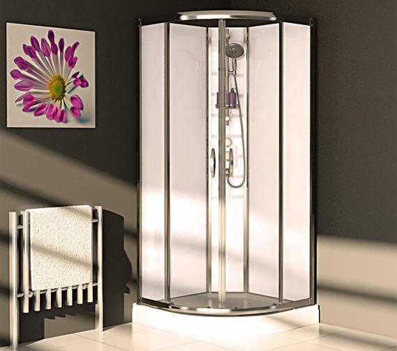 Aqualux Slot And Lock Quadrant Enclosure 900mm With White Glass Panels