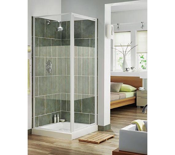 Aqualux Aqua 3 Pivot Door And Side Panel 800mm White Stripe Glass