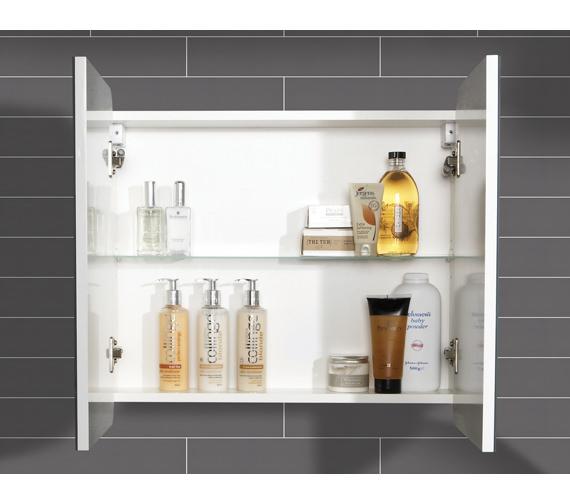 Alternate image of HIB Lanzo Double Door Bathroom Mirrored Cabinet 630 x 570mm