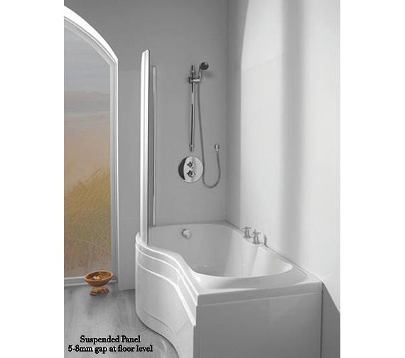 Additional image of Carron Prado Tap Ledge Shower Bath 1500 x 700mm - CABPRCTL155PALH