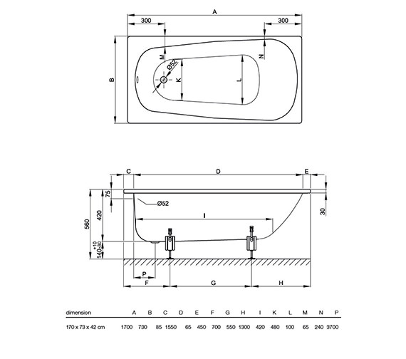Technical drawing QS-V34595 / BETTE3700