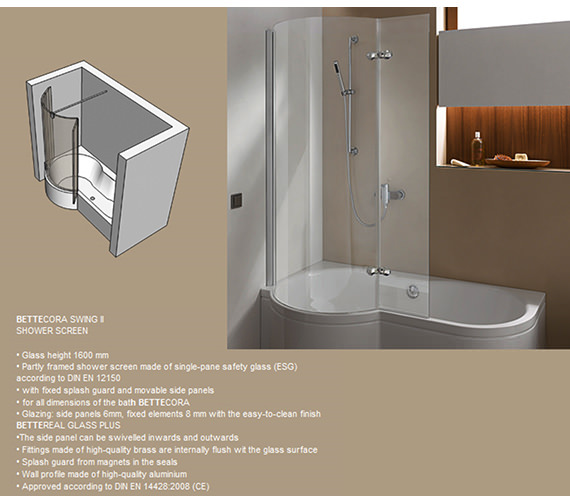 Additional image of Bette CORA Super Steel Shower Bath 1600 x 900mm - BETTE2810