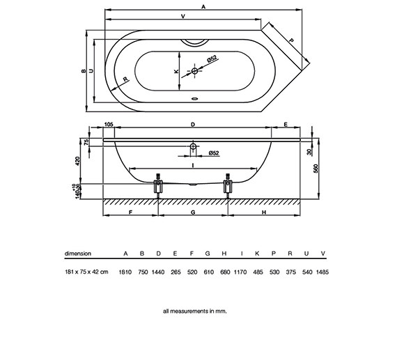 Technical drawing QS-V34610 / BETTE8360