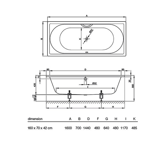 Technical drawing QS-V34612 / BETTED600