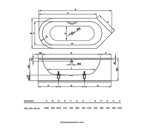 Technical drawing QS-V34613 / BETTE8370