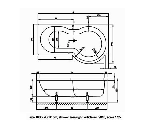 Technical drawing QS-V34619 / BETTE2130