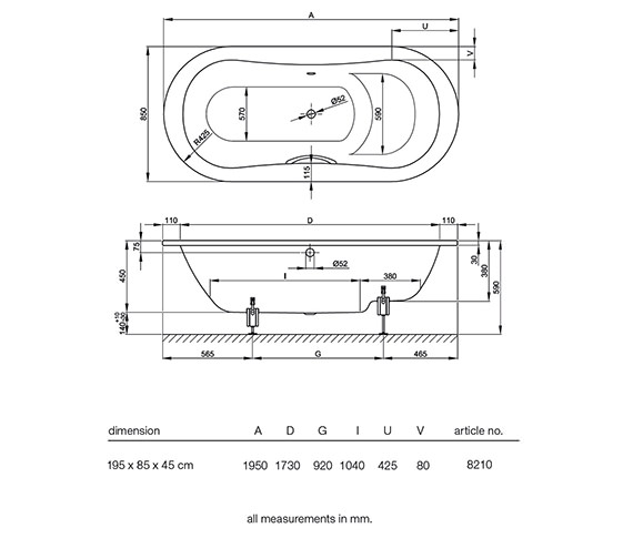 Technical drawing QS-V34622 / BETTE8210