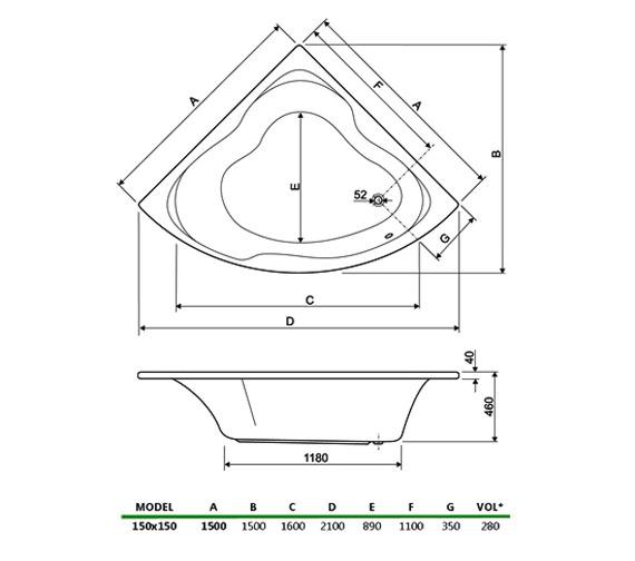 Technical drawing QS-V34650 / 154GLORIA15