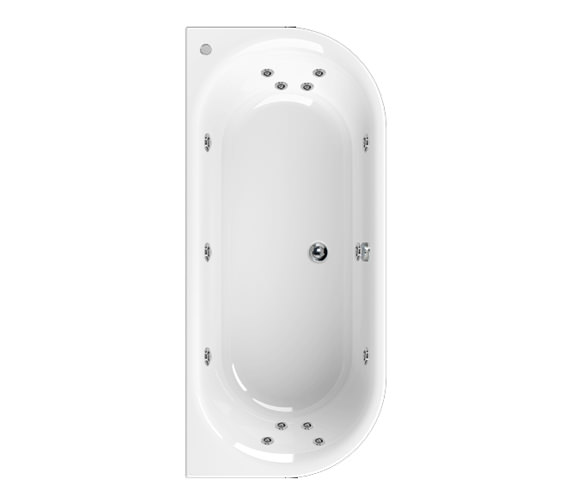 Aquaestil Metauro 1 Bath To Wall 1800 x 800mm 14 Jets Whirlpool Bath