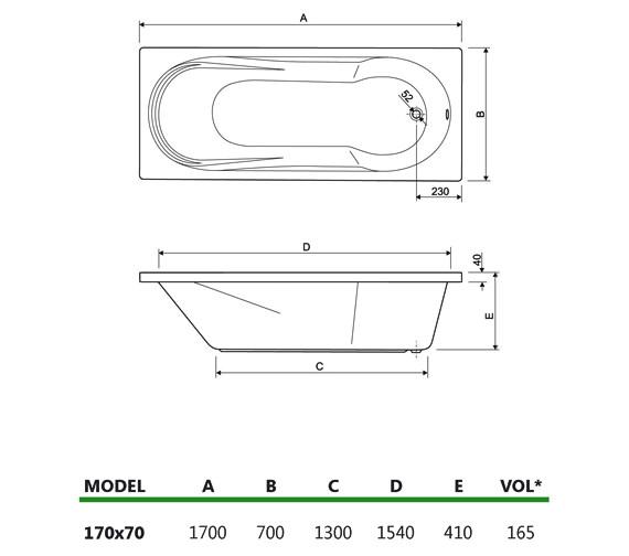 Technical drawing QS-V34679 / 200MODENA1770CWS08