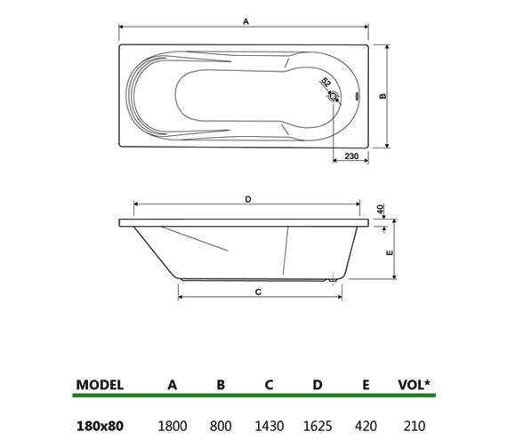 Technical drawing QS-V34688 / 200MODENA1880CWS06