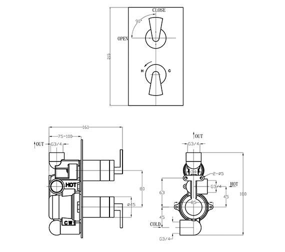 Image 2 of Crosswater Essence Thermostatic Shower Valve with 2 Way Diverter