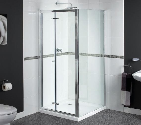 Aqualux Shine Bi-Fold Shower Door 760mm Polished Silver - FEN0898AQU
