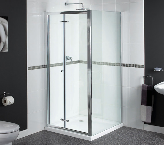 Aqualux Shine Bi-Fold Shower Door 800mm Polished Silver - FEN0899AQU