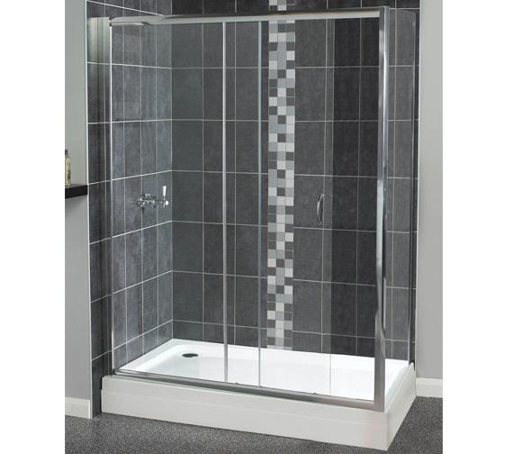 Aqualux Shine Sliding Shower Door 1100mm Polished Silver - FEN0902AQU