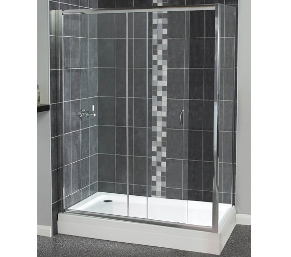 Aqualux Shine Sliding Shower Door 1400mm Polished Silver - FEN0920AQU
