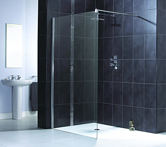 Aqualux Shine Shower Panel 1200mm Polished Silver - FEN1014AQU