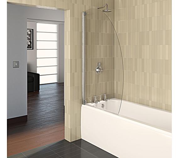 Aqualux Aqua 4 Oval Bath Screen 800mm Polished Silver - FBS0329AQU