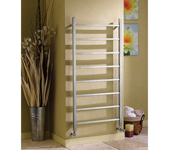 Additional image of Apollo Genova Brushed Stainless Steel Towel Rail 600 x 1200mm