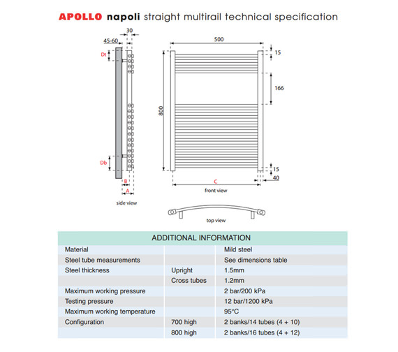 Alternate image of Apollo Napoli Straight Multirail Chrome 500mm x 800mm - ASC5W800