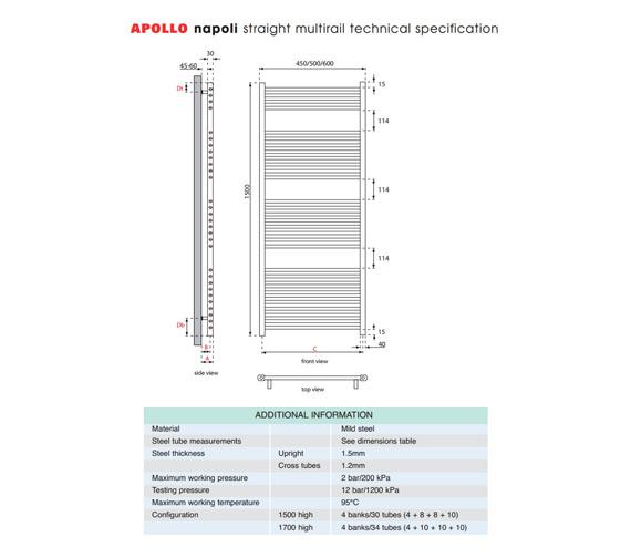 Alternate image of Apollo Napoli Straight Multirail Chrome 600mm x 1500mm - ASC6W1500