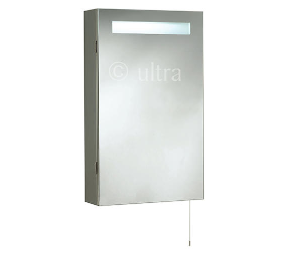 Ultra Consul Single Door Mirrored Cabinet With Light 390 x 650mm