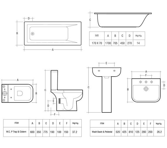 Technical drawing QS-V36227 / Rak Ceramics - QS-V36227
