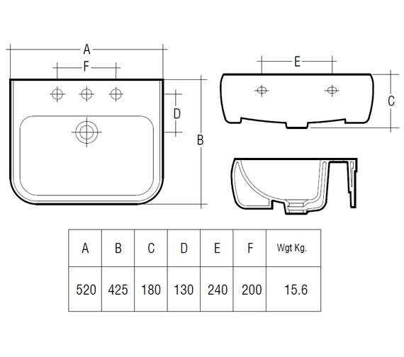 Technical drawing QS-V36244 / Rak Ceramics - QS-V36244