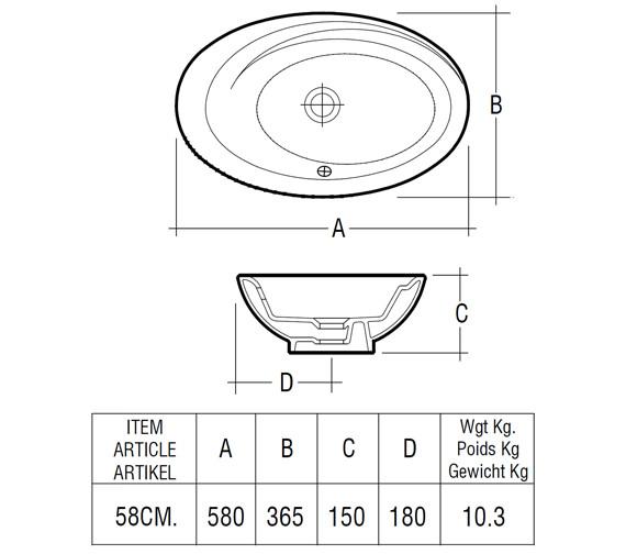Technical drawing QS-V36254 / Rak Ceramics - QS-V36254