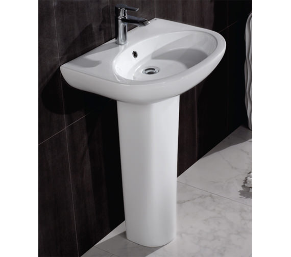 Additional image of RAK Infinity 1 Tap Hole Basin With Full Pedestal 600mm - INF60BAS1