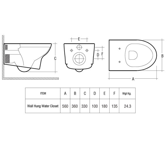 Technical drawing QS-V36262 / INFWHPAN