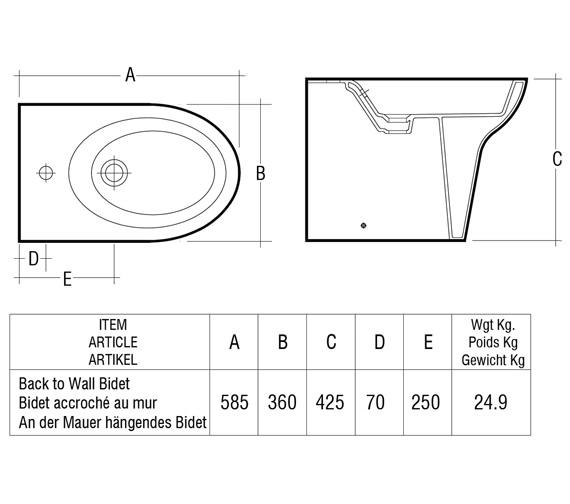 Technical drawing QS-V36263 / Rak Ceramics - QS-V36263