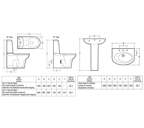 Technical drawing QS-V36274 / Rak Ceramics - QS-V36274